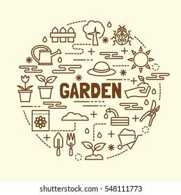 garden minimal thin line icons set, vector illustration design elements
