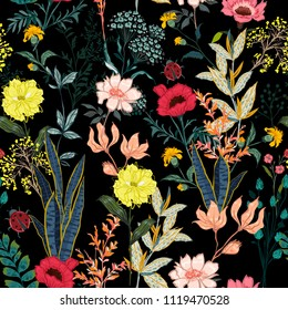 A garden in the night full of  blooming flower in many kind floral seasonal seamless pattern vector ,hand drawing style for fashion, fabric and all prints on black background.