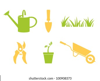 Garden objects & design elements isolated on white