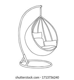 Garden Outdoor Furniture Hanging Swing Chair Stand. Garden Outdoor Furniture Egg Hammock Hanging Swing Chair Stand.  Egg Hammock Stand. Vector outline illustration