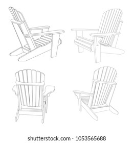 Garden outdoor wooden chair. Black and white line art illustration set