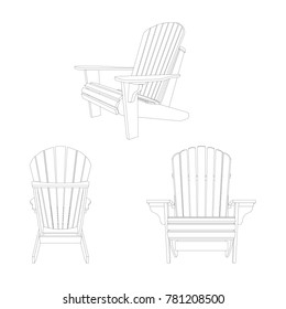 Garden outdoor wooden chair in several positions. Traditional garden furniture. Vecror illustration isolated on white background.