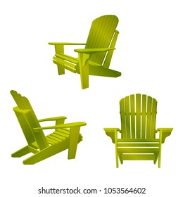 Garden outdoor wooden chair. Traditional garden furniture. Vecror illustration isolated on white background.