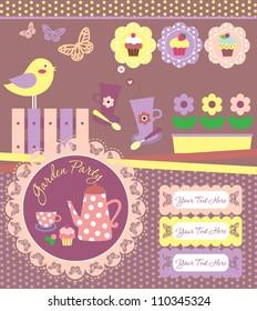 garden party cute collection. vector illustration