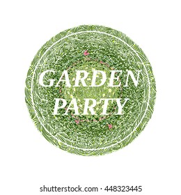 Garden party flowerbed with flowers and butterflies, wavy grass decorated badge, hand-drawn vector illustration.