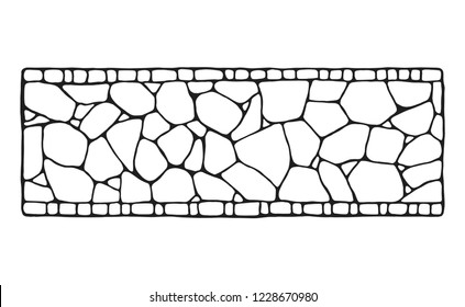 Garden path. Decorative stonework. Vector sketch. isolated object.