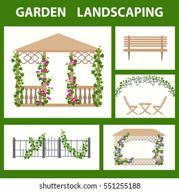 Garden pavilions and garden furniture color icons set. Landscape design elements in flat style,  isolated on white background. Vertical gardening illustrations.
