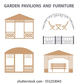 Garden pavilions and garden furniture icons set. Landscape design elements in flat style,  isolated on white background.