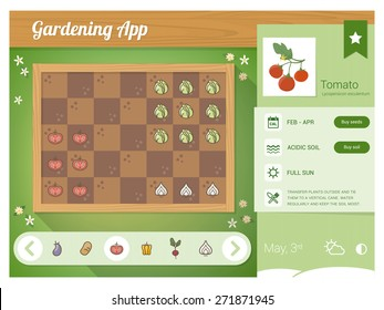Garden planner app with vegetables nutrition sheet, rectangular garden with drag and drop vegetables icons