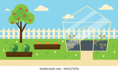 garden plot with greenhouse and high beds organic farming