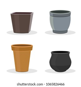 Garden pots and containers isolated on white. Gardening equipment. Round and square pots and containers. Terracotta flower pot icons or illustrations.