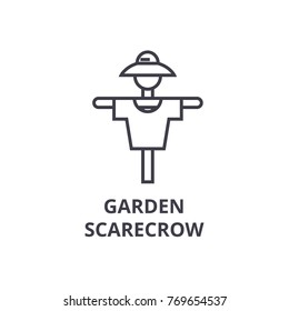 garden scarecrow line icon, outline sign, linear symbol, vector, flat illustration