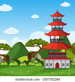 Garden scene with chinese tower in the field illustration
