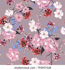 Garden. Seamless oriental pattern with blooming motifs. Blooming summer poppies, leaves and many kind florals. Vintage textile collection. Colorful on pink