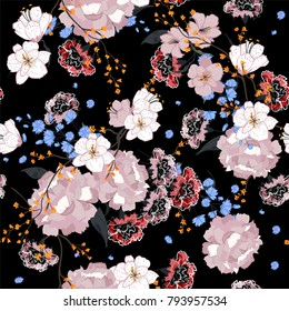 Garden. Seamless oriental pattern with blooming motifs. Blooming summer poppies, leaves and many kind florals. Vintage textile collection. Colorful on dark