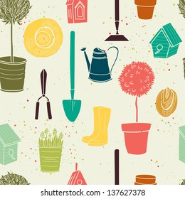 Garden seamless pattern with watering can, spade, rubber boots, olive tree, birdhouse, hat, tree in a pot and spring flowers. Vector background.