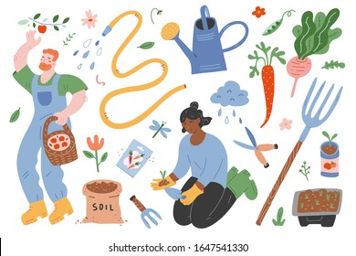Garden set, people gardening, vector illustrations of garden gear, gardening tools and supplies, woman working in garden, man picking apples, spring outdoors activity, cute cartoon characters.