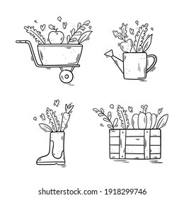 Garden set - Rubber boot, watering can, wheelbarrow, wooden crate box with a pumpkin, an apple, a turnip, a carrot and leaves - Hand drawn vector illustration isolated