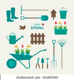 Garden set rubber boots, secateurs, spade, fork, rake, watering can, bucket, daffodils, tulips, trolley, bird. Hello spring. Vector illustration.