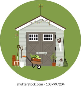 Garden shed with gardening tools around it, EPS 8 vector illustration, no transparencies
