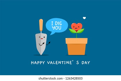 Garden shovel and a heart shaped plant in vase