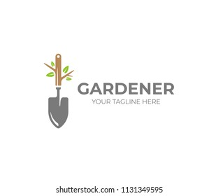 Garden shovel and tree with green leaves logo template. Gardening plant, garden tool vector design. Gardener logotype