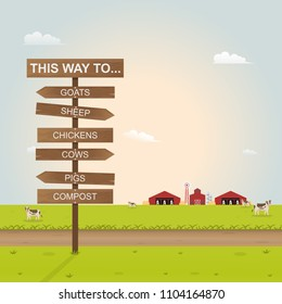 garden and signs with wood texture inside farm. Vector illustration