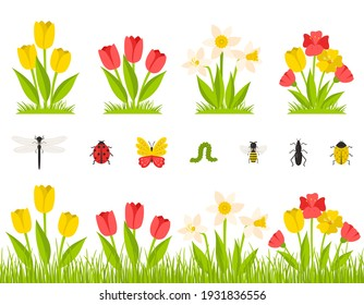 Garden spring flowers. A bush of tulips, daffodils, poppies. Flowers in the grass, meadow. Collection of insects. Botanical design elements in a cartoon flat style, isolated on a white background