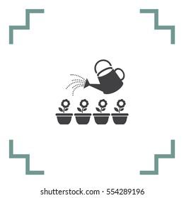 Garden sprinkler bucket vector icon. Flowerpot sign. Watering plants symbol