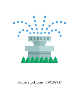 Garden sprinkler icon. Automatic lawn watering system vector illustration.