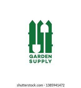 Garden supply logo design template with fence. Vector illustration.