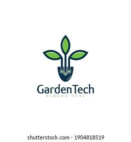 Garden technology concept logo design template.