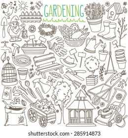 Garden themed doodle set. Various equipment and facilities for  gardening, farming, agriculture and horticulture. Freehand vector sketches isolated over white background.