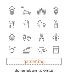 Garden thin line icons. Vector set of gardening and horticulture modern signs.