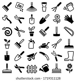 Garden tool icon collection - vector outline and silhouette illustration