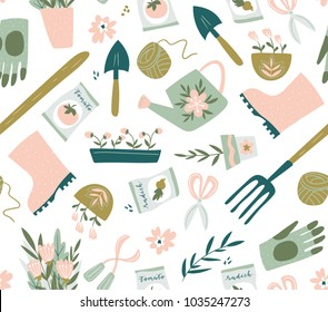 Garden tool seamless pattern. Vector illustration of gardening elements. Happy gardening fabric design.