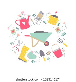 Garden tool set in vector. Circle illustration of garden tools and flowers on white background. Vector element design.