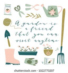 Garden tool set. Vector illustration of gardening elements:  spade, pitchfork, wheelbarrow, plants, watering can, grass, flowers, garden gloves and cute calligraphy. Happy gardening poster design.