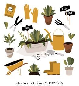 Garden tool set. Vector illustration of gardening elements: spade, pitchfork, wheelbarrow, plants, watering can, grass, garden gloves. Spring time