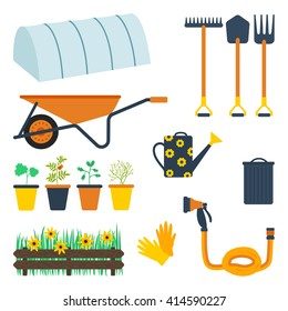 Garden tool set. Vector illustration of gardening elements: hot house, rake, spade, pitchfork, wheelbarrow, plants, watering can, bin and lid, fence, grass, flowers, garden gloves, hose with sprinkler