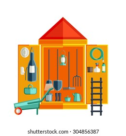 Garden tool storage. Storage Sheds. Flat vector illustration.