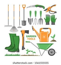 Garden tool vector gardening equipment rake shovel trowel and watering can of gardener farm collection illustration farming set of farming wheelbarrow isolated on white background.