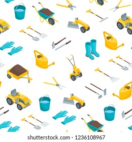 Garden Tools 3d Seamless Pattern Background on a White Isometric View Include of Shovel and Rake. Vector illustration of Tool for Gardening Work