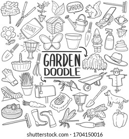 Garden tools and animals doodle set. Outline vector Illustration, gardening and horticulture. Home Agriculture equipment.