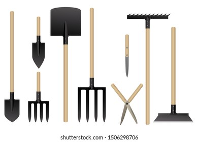 Garden tools collection. Vector illustration. Set of horticulture equipment.