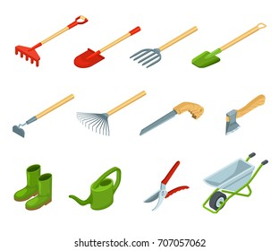 Garden tools collection vector illustration. Isometric gardening icons isolated hacksaw, shovel, rake, secateurs
