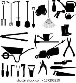 Garden tools collection vector silhouette