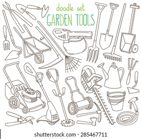 Garden tools doodle set. Various equipment and facilities for  gardening, farming, agriculture and horticulture. Hand tools and power tools. Freehand vector sketches isolated over white background.