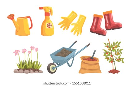 Garden Tools And Equipment For Plant Trees And Flowers Vector Illustration Set Isolated On White Background