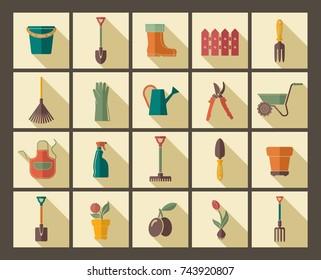 Garden tools, the equipment and symbols. Vector illustration